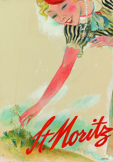 vintage travel poster. St. Moritz. Alois Carigiet, 1934