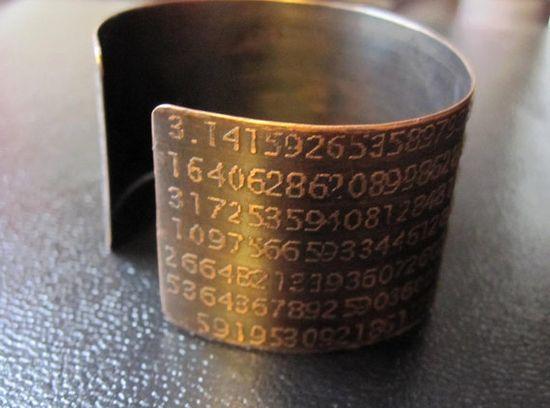 Pi Bracelet ( Etched in Copper  Etsy:: www.etsy.com/... )
