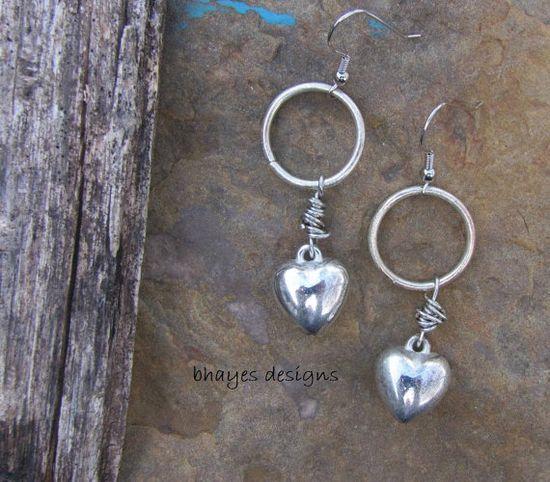 Heart Earrings by brendalou2 on Etsy, $12.00