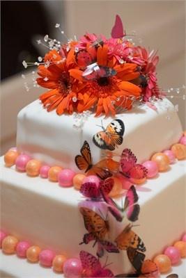 Square orange and pink summer wedding cake
