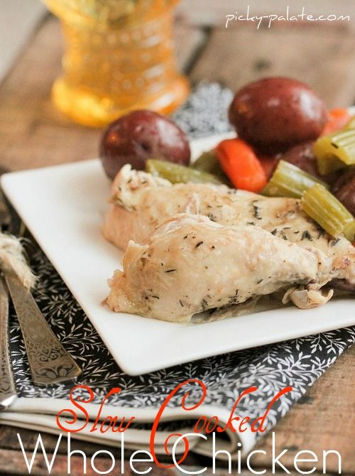 slow cooked whole chicken and veggies
