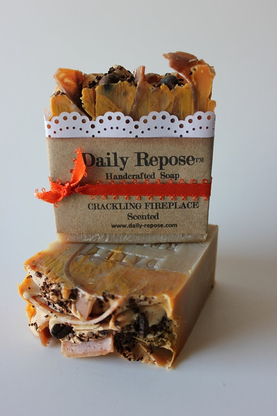Crackling fireplace soap - fire wood, topped with organic coffee grounds for the fire ash.