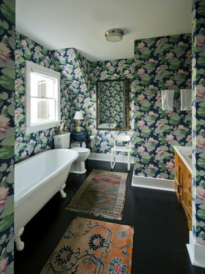 Water lily wallpaper in a bathroom at Kate and Andy Spade's Southampton home decorated by Steven Sclaroff...