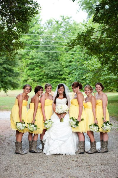 yellow dresses + cowboy boots