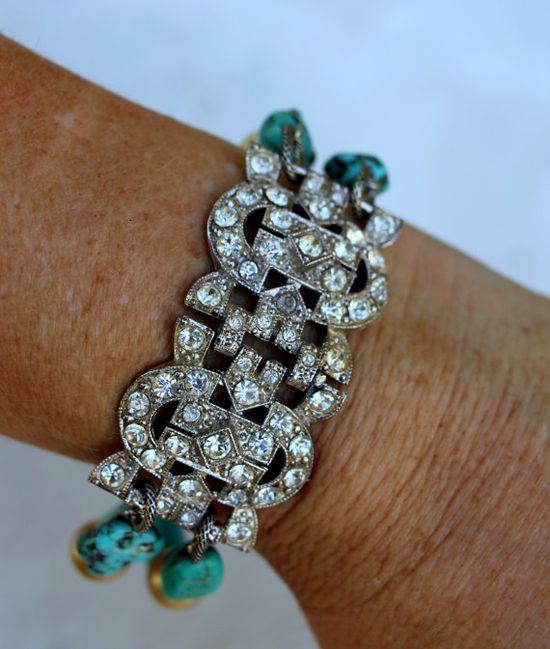 Vintage Rhinestone and Turquoise Bracelet~