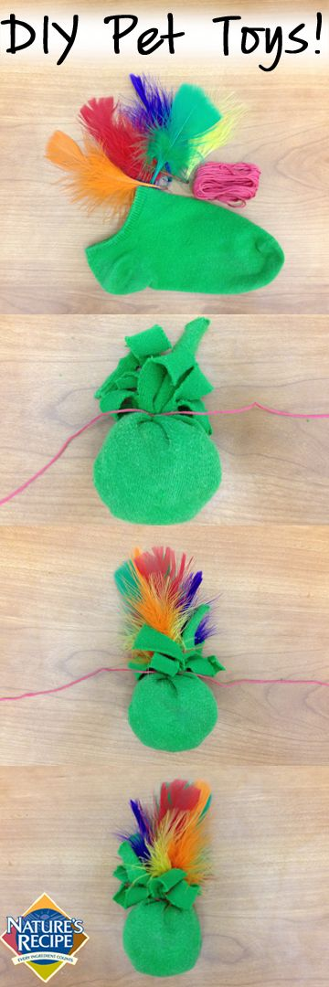 Your cat won't be able to resist this #DIY toy made out of a sock! #cat #pet #craft
