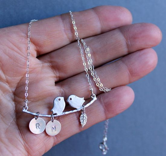 Sterling Silver Jewelry Necklace  Love Birds