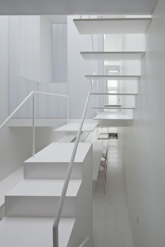 Intermixed open and closed riser staircase.