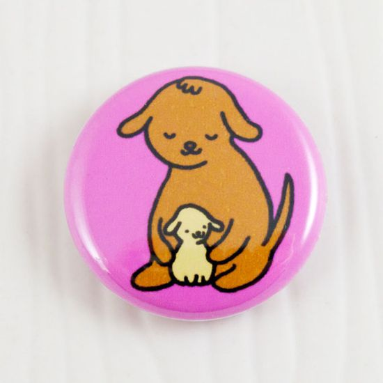 Baby Dogs Hug Button on Etsy, $2.00