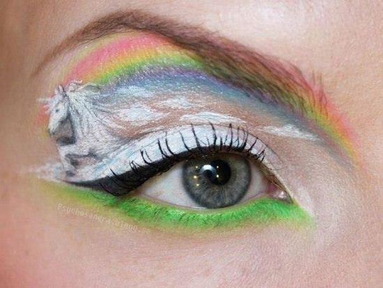 unicorn eye makeup. umm . . . okay.