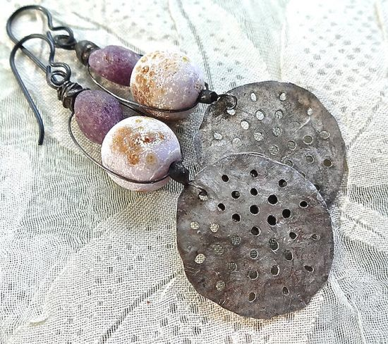 Dotty disc earrings by pipnmolly on Etsy, $34.00