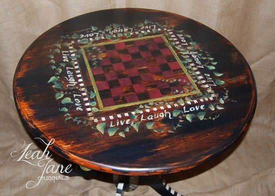 Hand Painted Furniture Bistro / Pub Table with Gameboard