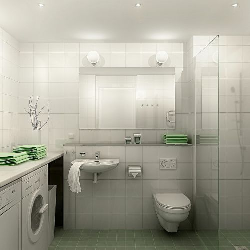 Chic and futuristic apartment design idea, laundry room and WC