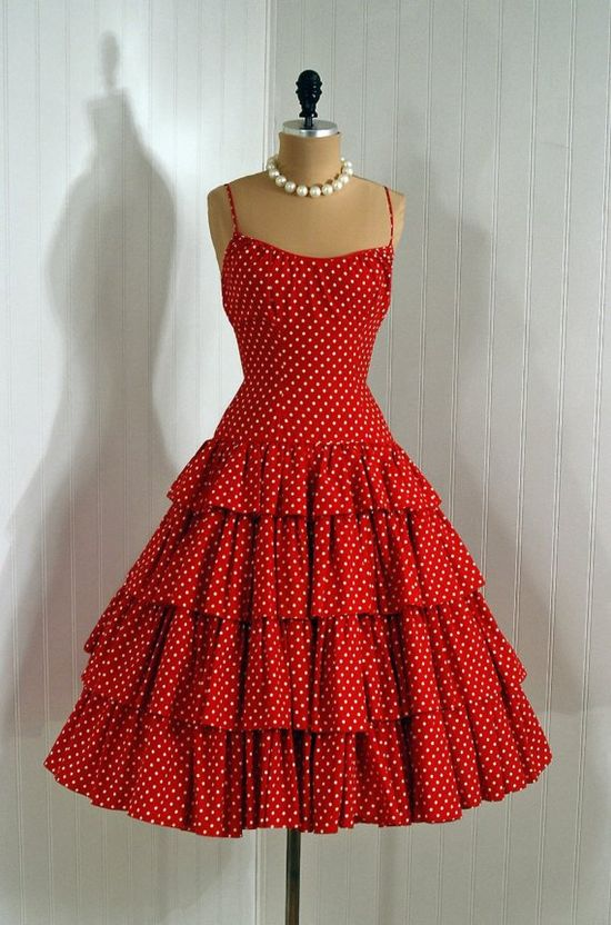 Sun Dress, Rappi for Lord & Taylor: 1950's, polka-dot print textured cotton, low-cut ruched bodice, tiered ruffle skirt, back bow.
