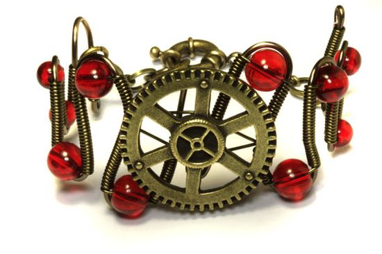Steampunk Jewelry - Bracelet - Brass Gear and Red Glass by CatherinetteRings