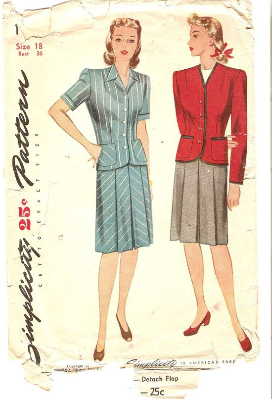 1940s Misses Two Piece Suit Pattern Bust 36 Size by CherryCorners, $20.00