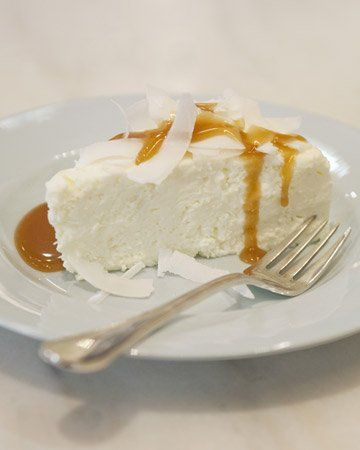 coconut pudding with caramel sauce.
