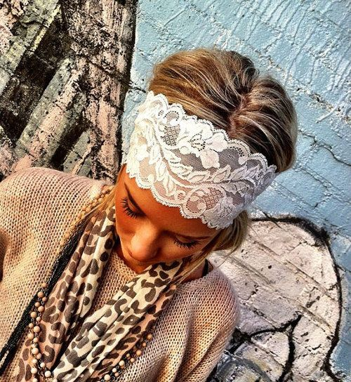 Wide lace stretch headband by ThreeBirdNest.