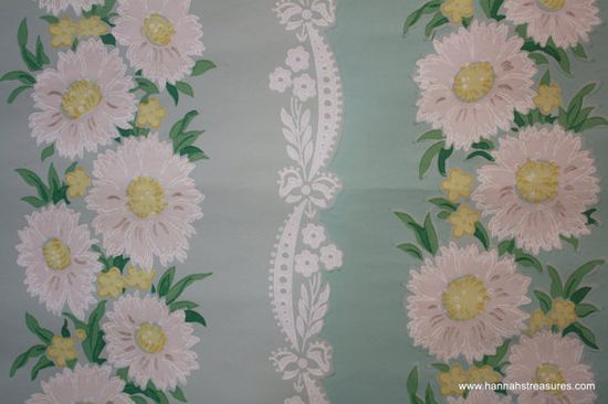 1940's Vintage Wallpaper White floral with by HannahsTreasures, $14.00