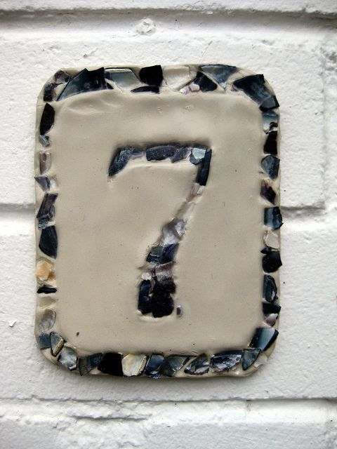 Handmade House Number using crushed mussel shells