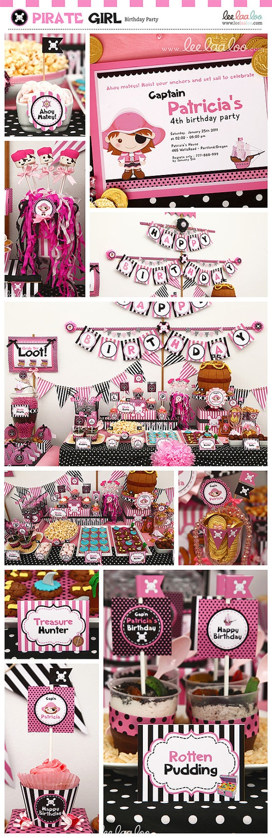 Pirate Girl Pink Black Birthday Party