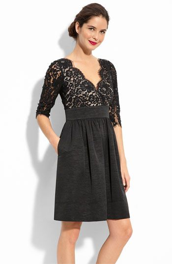 Eliza J Lace & Faille Dress available at #Nordstrom