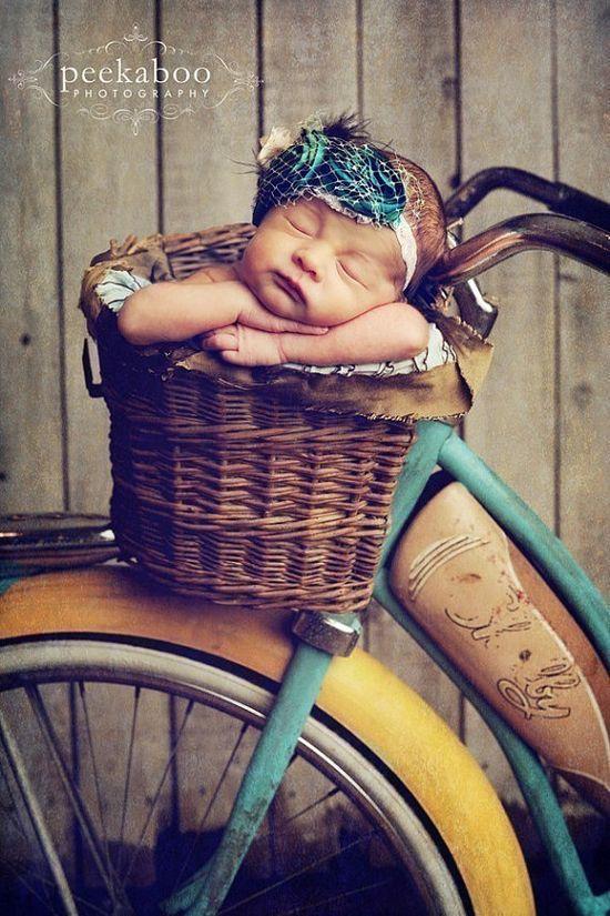 Baby in a bike basket.