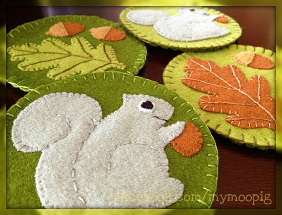 Woodland Felt Coasters Set / Hand Stitched by MyMooPig on Etsy, $21.00