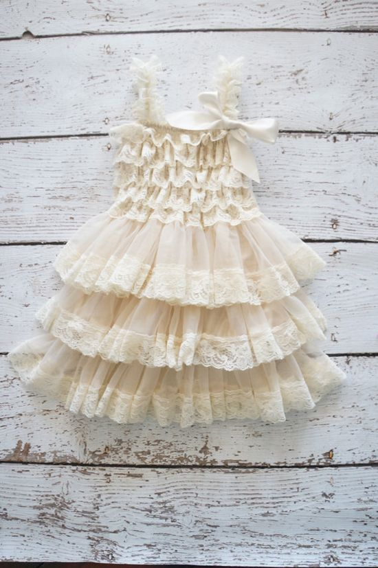 Flower Girl Dress - Lace Flower girl dress - Baby Lace Dress - Rustic - Country Flower Girl - Lace Dress - Ivory Lace dress -  Bridesmaid on Etsy, $35.00