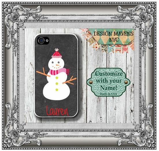 Personalized iPhone Case, Snowman Monogram iPhone Case, Fits iPhone 4, iPhone 4s, iPhone 5, iPhone 5s, Phone Cover, Phone Case on Etsy, $17.99
