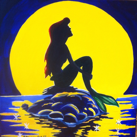 The Little Mermaid acrylic on canvas painting. Want a painting? Let me know!