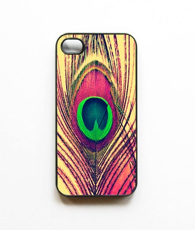 iPhone Case Golden Blush Peacock Feather