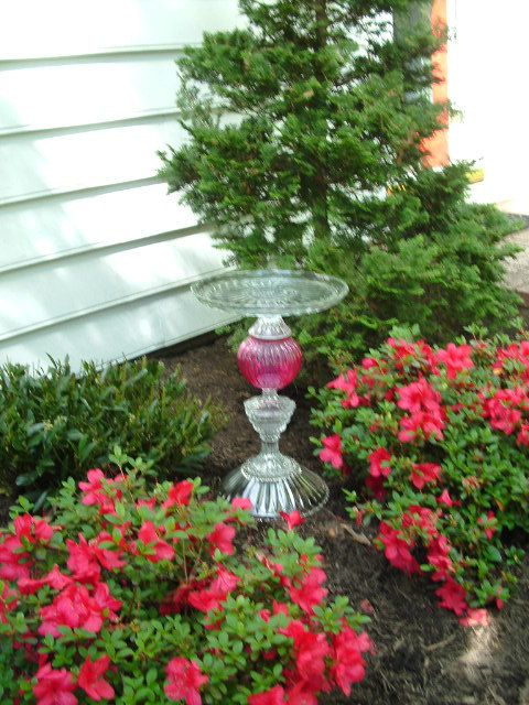 "Garden sculpture. Majestic bird bath garden art ""The Olympia"" is made from repurposed glass. Upcycled yard art.  Vintage glass garden art."