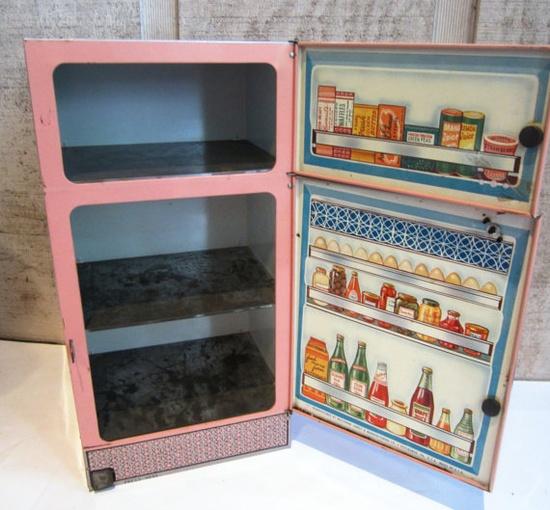 vintage tin fridge