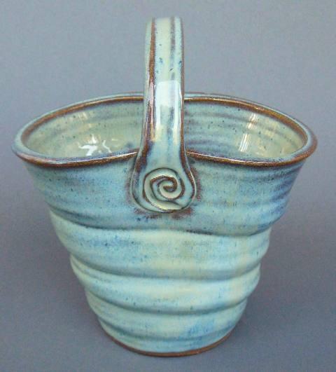 Basket Twisted Vase Handmade Pottery - Large Green