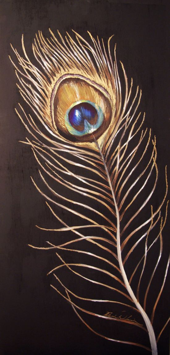 MADE TO ORDER Peacock Feather Painting on by RENEEWLEVINFineArt, $700.00