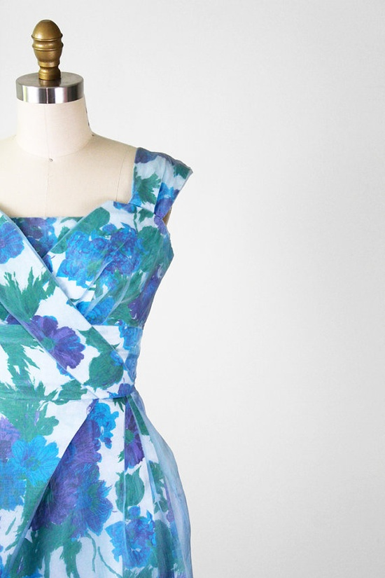 vintage 1950s dress / 50s floral dress / Blue and Purple Floral Cocktail Dress with Organza Overlay