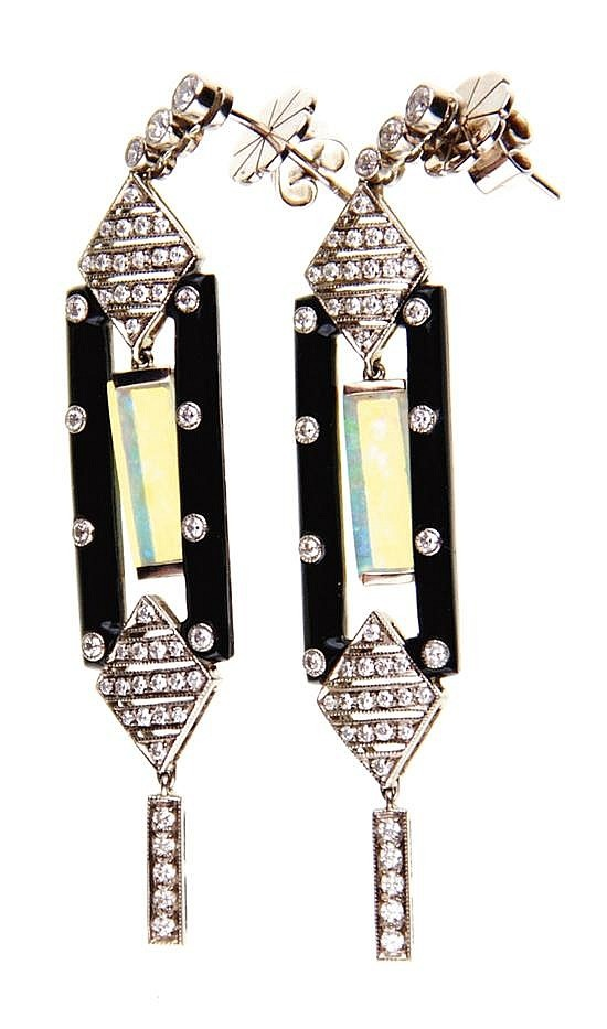 Art Deco style onyx, opal and diamond earrings 18K white gold set with black opals, 2.50ctw, and ninety-four round diamonds