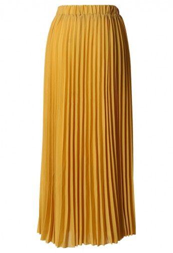 Chiffon Mustard Pleated Maxi Skirt