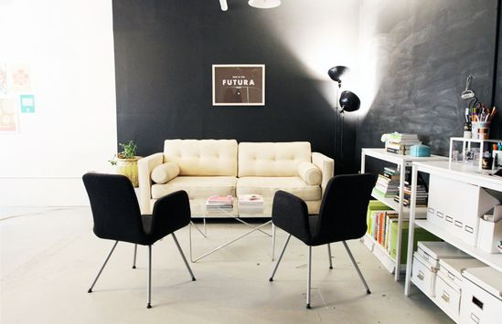 white on black - Jessica Sutton Graphic Design's office in Boston via @The Everygirl