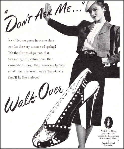 Whatever you do, don't ask her! :D #vintage #1940s #shoes #ad #fashion