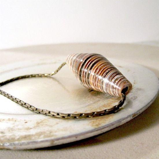 Shell Necklace Brown Necklace Brass Jewelry by jewelrybycarmal, $16.00
