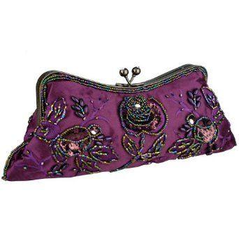 Purple Vintage Rhinestones Beaded Rosette Pattern Evening Handbag, Clasp Purse Clutch w/2 Detachable Chains,$29.50