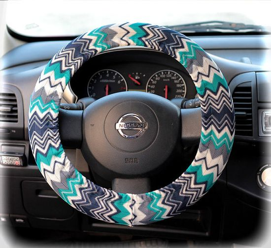 Steering wheel cover for wheel car accessories Zigzag, Chevron print on Etsy, $12.90