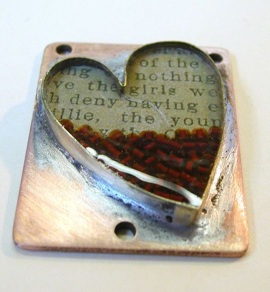 metal and resin heart
