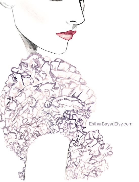 Watercolor Fashion Illustration Couture Details by EstherBayer, $32.50