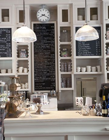 adore the chalkboards, shelves.