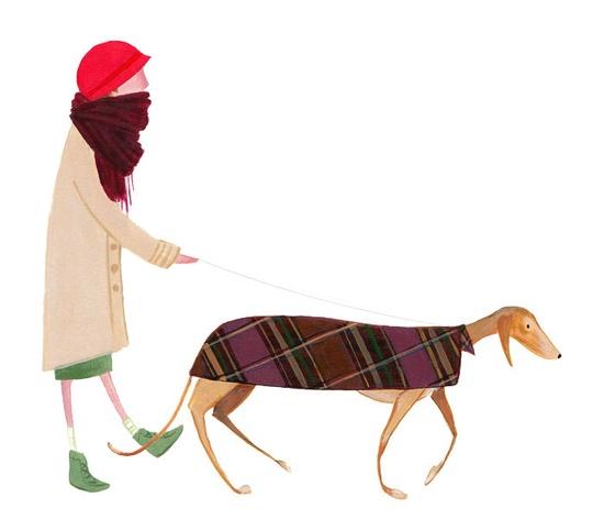 Greyhound dog walking, by Jolly Edition
