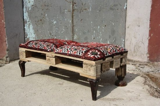 pallet bench. great embroidered fabric!