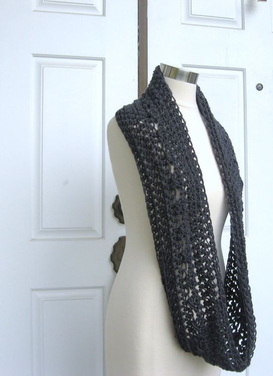 GRAY INFINITY SCARF Grey Fashion Scarf Winter by marianavail, $19.00